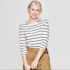 White x Black Striped 3/4 Sleeve Boat Neck T-Shirt